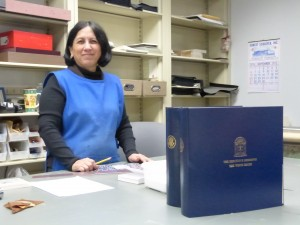 Mirtha Antelo, of Distinctive Bookbinding, who made The Amichai Window enclosures