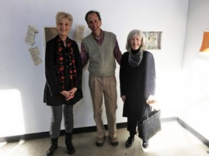 Rick Black  with Helen Frederick and Judy Brodsky at the opening of his artist book exhibition at Pyramid Atlantic Art Center.
